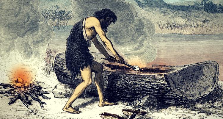 Realizarea unie ambarcatiuni dintr-un trunchi de copac cu ajutorul focului
