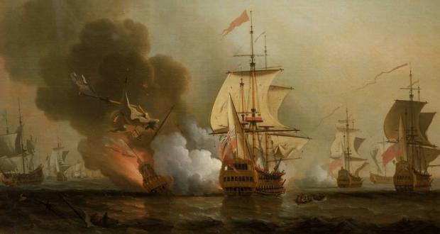 Pirații în Atlantic atacă navele spaniole - pictură de Samuel Scott