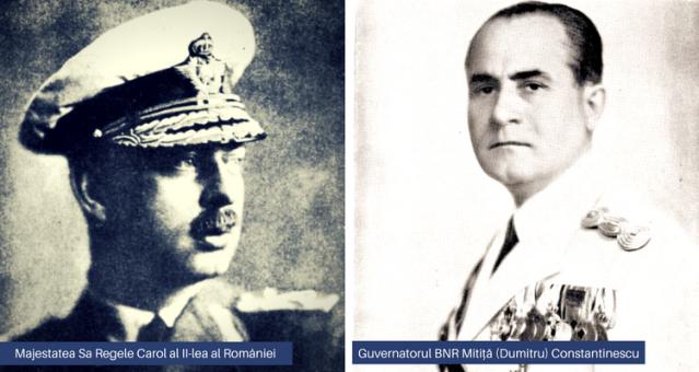 Majestatea Sa Regele Carol al II-lea al României si Guvernatorul BNR Mitiță Constantinescu