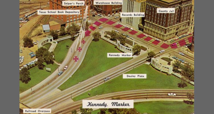 "Traseul prin parcul ""Dealey Plaza"" - unghiul de tragere conform Comisiei Warren"