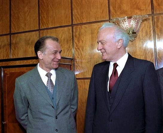 Eduard Shevardnadze și Ion Iliescu, București 6 Ianuarie 1990