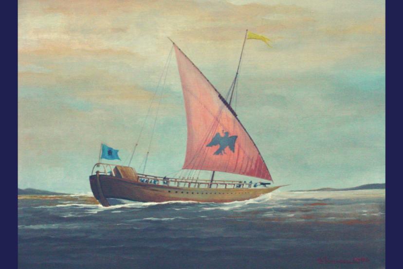 Caiac Brâncovenesc - pictură în ulei pe pânză de Cpt.Cdor Ionescu Ovidiu-Victor - 2004