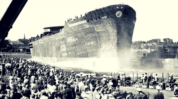 01.07.1959 - Lansarea tancului petrolier Olympic Champion - Credit Image @ Keystone Press Agency USA