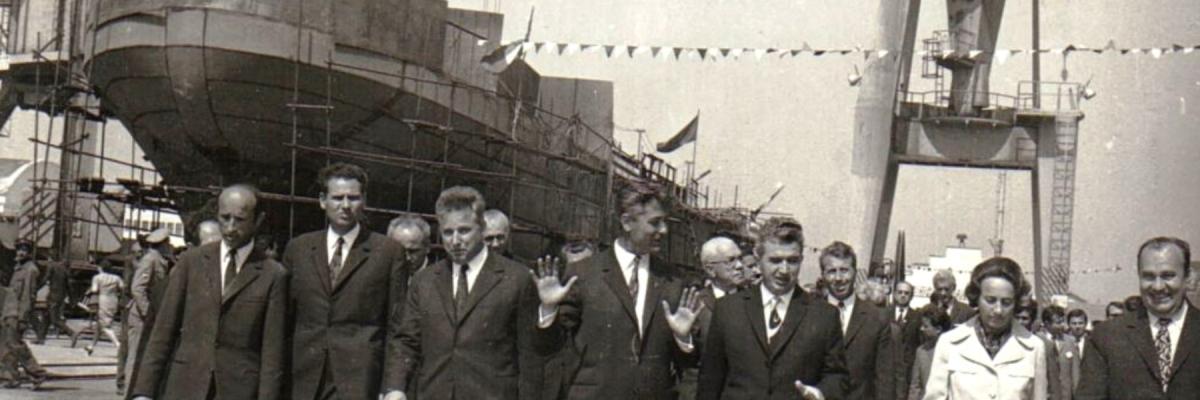Nicolae și Elena Ceaușescu în vizită la Șantierul Naval Drobeta Tr.-Severin - 16 mai 1972